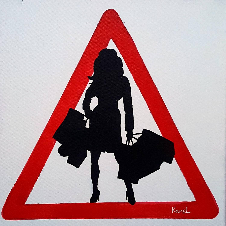 Warning shopping girl